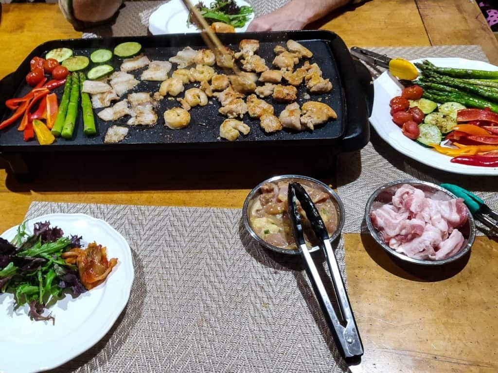 Meat & veggie setup for Korean BBQ