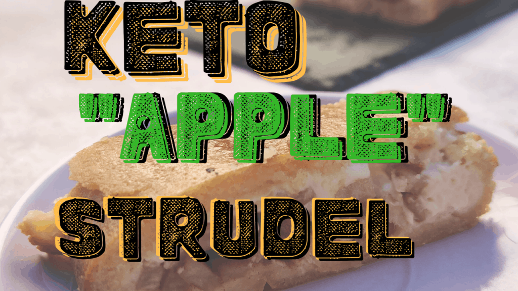 A slice of keto apple strudel on a plate